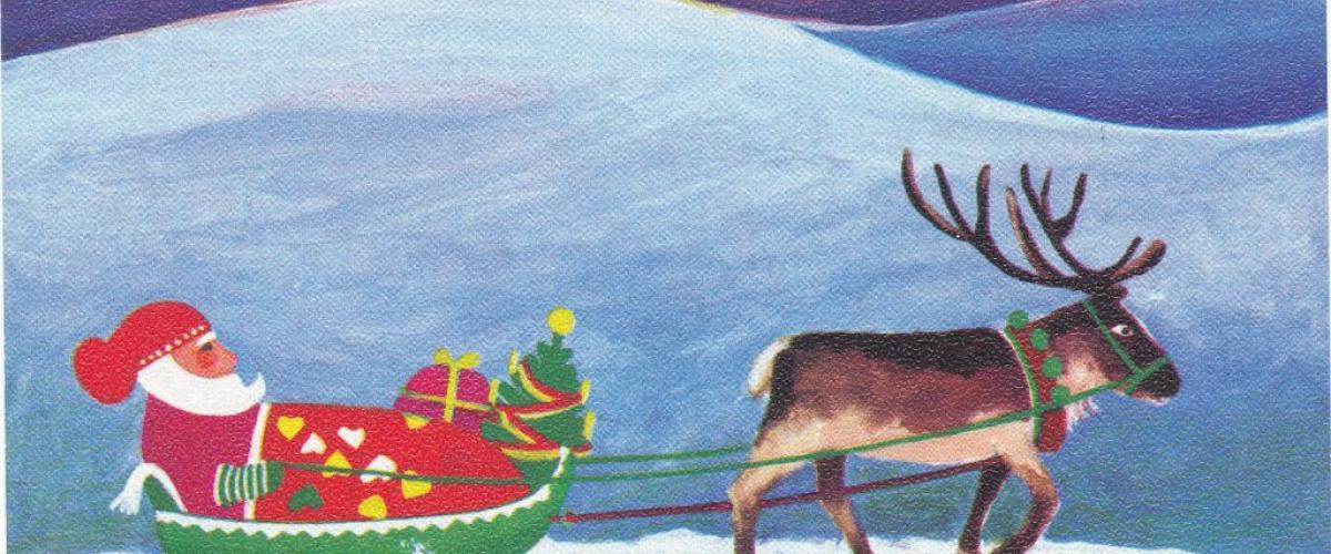 Arvo Vatasen tekemä joulukortti Jukka Hirvosen kokoelmista