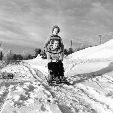 Silja Vatasen tyttären lapset Merja ja Marjatta Ruissalossa 1958.