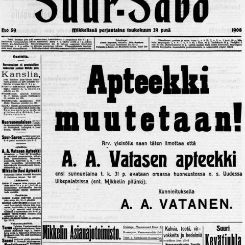 Apteekkari Anders Adiel Watasen ilmoitus Jukka Hirvosen kokoelmista.